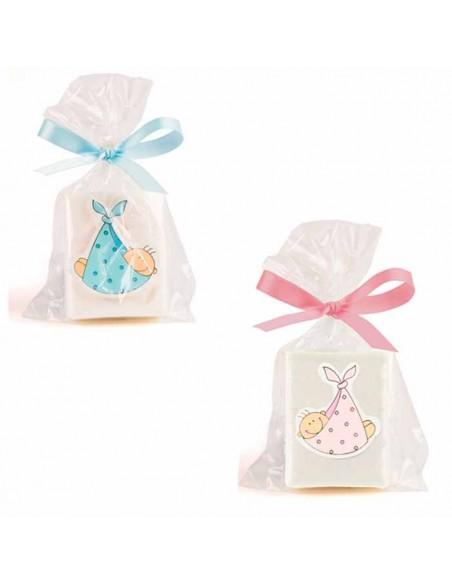 Jabones con sticker bebé en madera azul y rosa