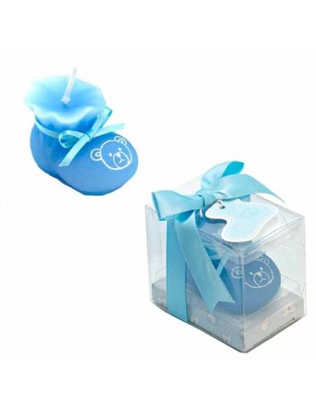 Botita vela presentada en caja regalo en azul