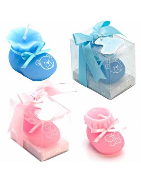 Botita vela presentada en caja regalo en azul o rosa