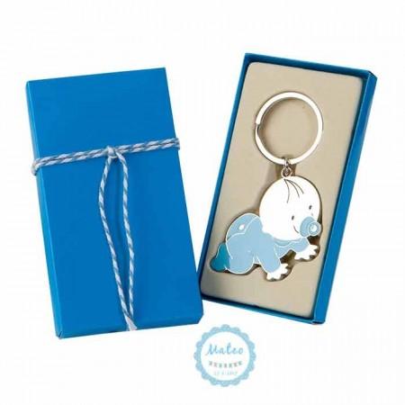 Llavero bebé niño gateando con caja y tarjeta adhesiva