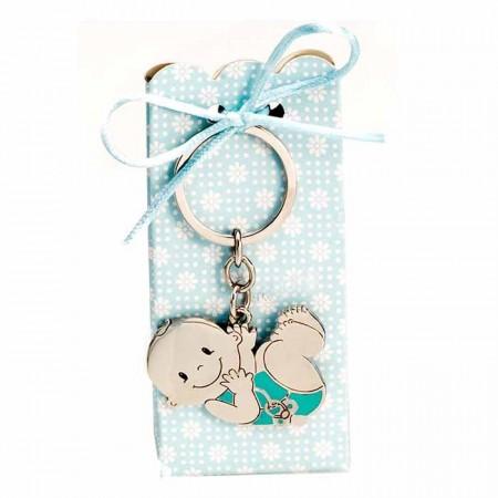 Llavero de metal con detalles en azul, bebé chupete y caja con peladillas