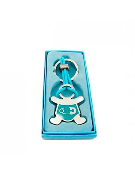Llavero de metal con detalles lacados en azul bebé imperdible