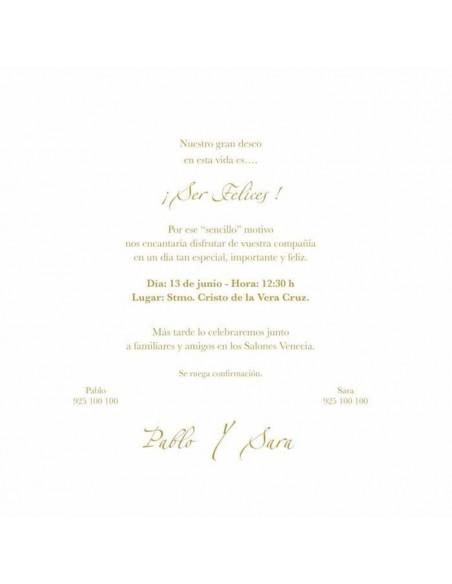 Invitación de Boda edima corazón dorado