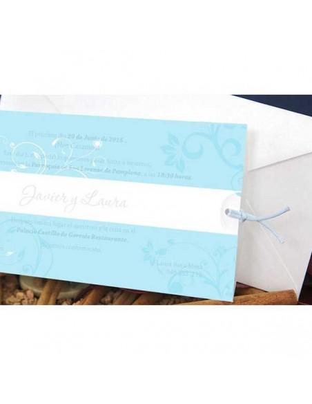 Invitación de boda con detalles florales