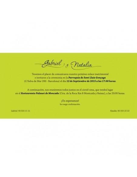 Detalle del texto de la invitación de bodas hojas verdes