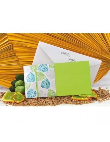 Original invitacón de boda tonos verdes y sobre