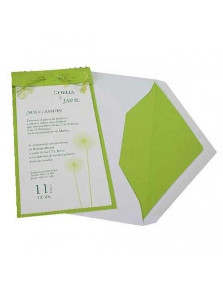 Invitación de boda vertical verde lima