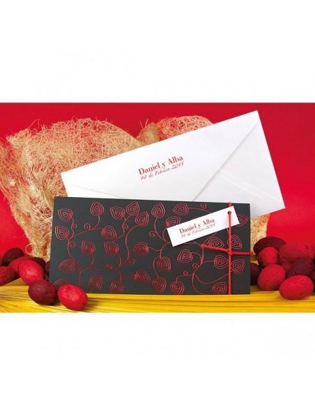 Invitación de boda horizontal hojas rojas