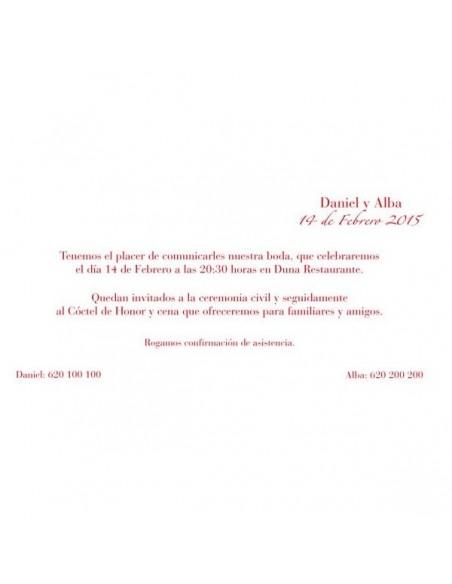 Texto de muestra para la invitación de boda hojas rojas