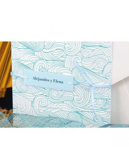 Detalles de la portada de la tarjeta de boda Olas