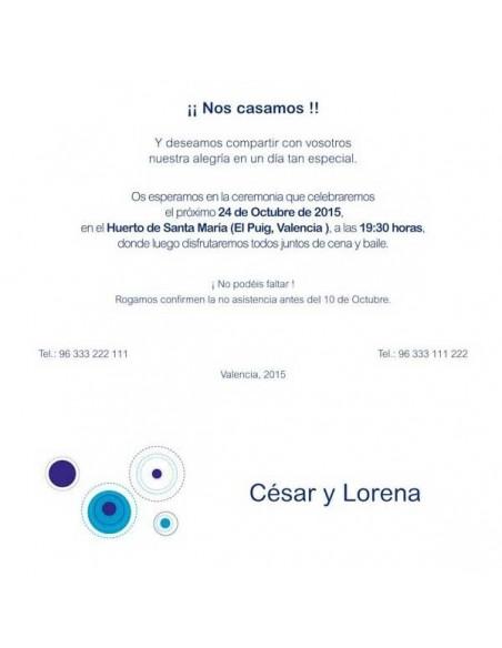 Muestra del texto para la invitación de boda con circulos en tonos azules