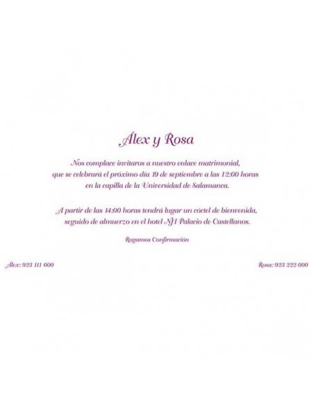 Texto de muestra para la invitación de boda con tonos morados