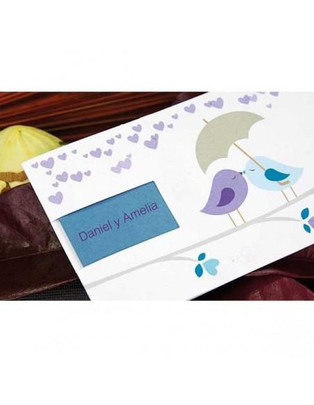 Invitación para boda detalles pajaritos