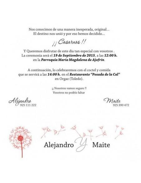 Texto de muestra invitacion para boda diente de León