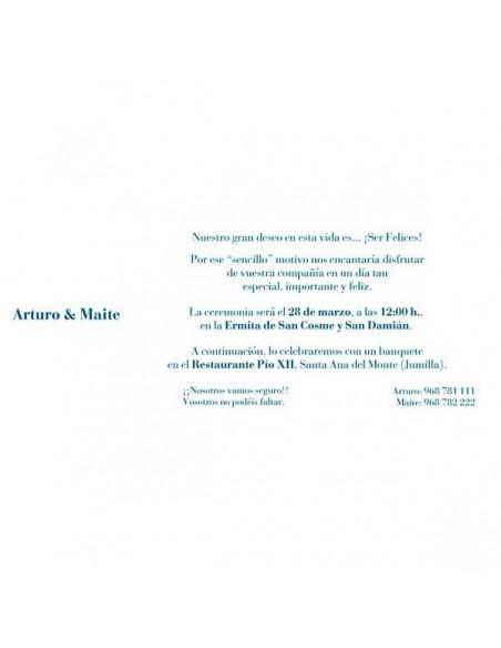 Muestra del texto para la Invitación de boda flores metalizadas