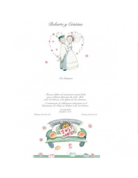 Muestra del texto de la invitación para boda Just Married