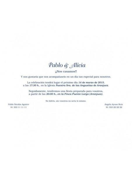 Muestra de texto para la invitación de boda con detalles azules en brillo