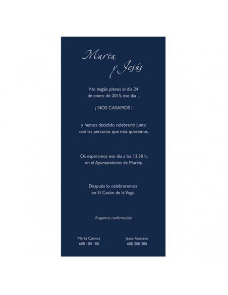 Muestra de texto para la invitación de boda azul
