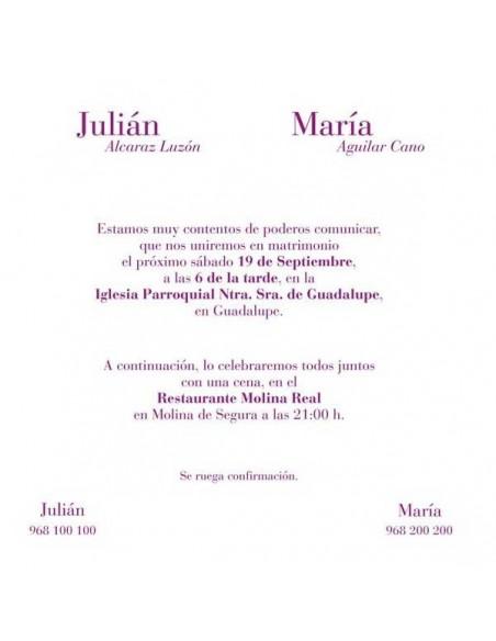 Muestra del texto para invitación para boda en tonos rosas