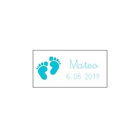 Tarjeta dibujo pies bebé de color azul
