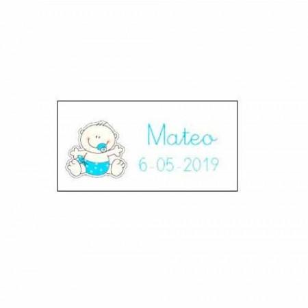 Tarjeta bebé sonriente de color azul