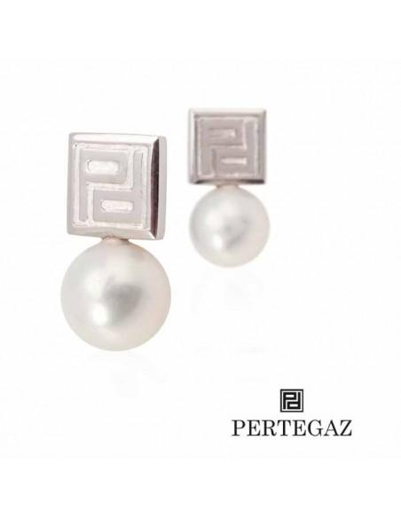 Vista completa pendientes pertegaz perlas y plateados