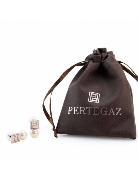 Pendientes perlas y plateados en bolsa regalo de pertegaz