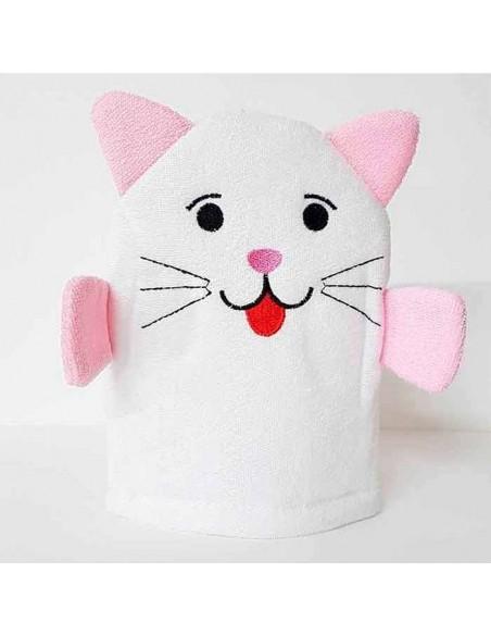 Esponja manopla para el baño diseño gato