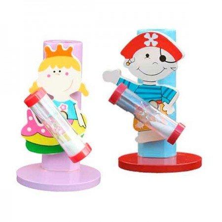 Porta cepillo dientes hada y pirata en madera con reloj de arena