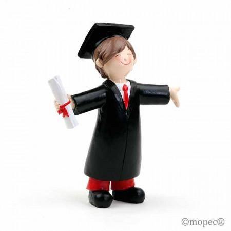 Figura pastel niño graduación.