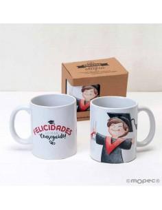 Taza o mug cerámica niño graduación en caja regalo