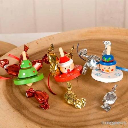 Peonza en madera motivos navideños con caramelos