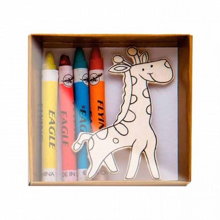 set imanes madera con pinturas para colorear