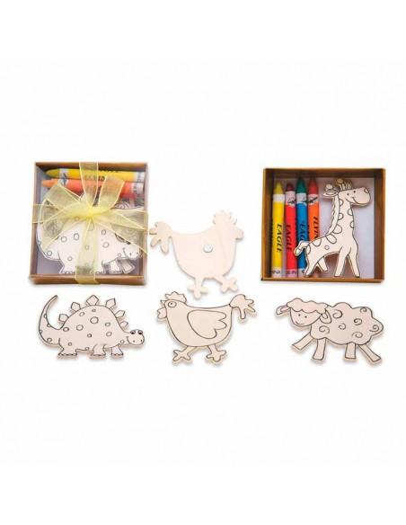 set compuesto por 4 imanes animalitos en madera para colorear con las ceras incluidas