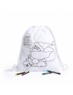 Mochila blanca con Papá Noel en moto para colorear