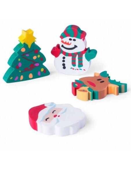 4 gomas de borrar navideñas. Árbol de navidad, muñeco de nieve, reno y Papá Noel