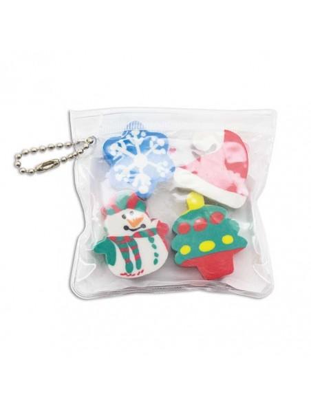 cuatro gomas navidad infantiles en bolsa llavero