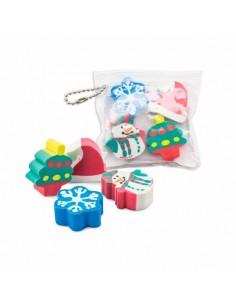 Set gomas navidad en bolsa llavero