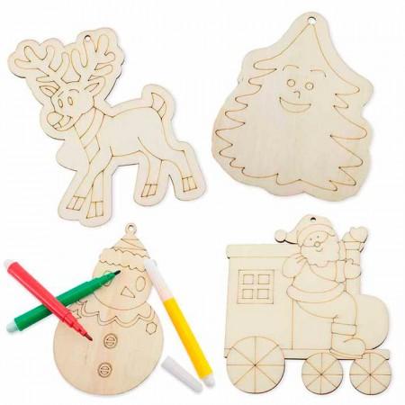 Set 4 colgantes en madera navidad para colorear con rotuladores incluidos