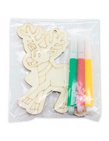 Colgante en madera dibujo navideño con rotuladores para colorear