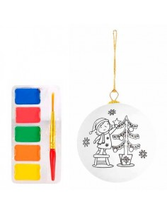 Bola navideña para pintar con acuarelas incluidas