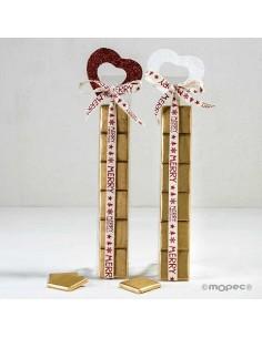 Estuche con 6 chocolatinas de chocolate con corazón purpurina rojo y blanco