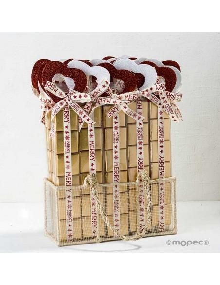 Estuche con 35 set con 6 chocolatinas de chocolate con corazón purpurina rojo y blanco