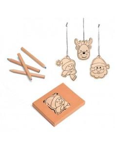 Set en madera 3 figuras para colorear y colgar en el árbol navidad con lápices