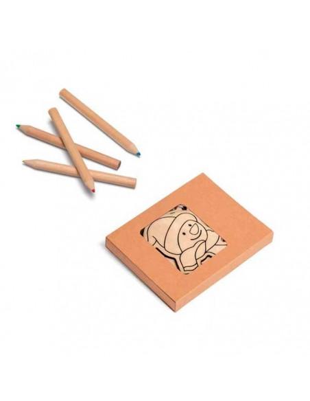 Set lápices colores más 3 figuras para colorear en madera