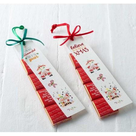 Estuche con 4 napolitanas con marca páginas navideño