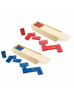 Domino fichas plástico rojo o azul, caja madera