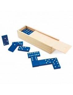 Domino fichas plástico azul, caja madera