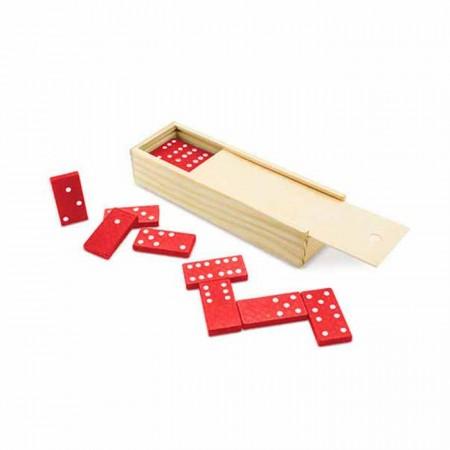 Domino fichas plástico rojo, caja madera