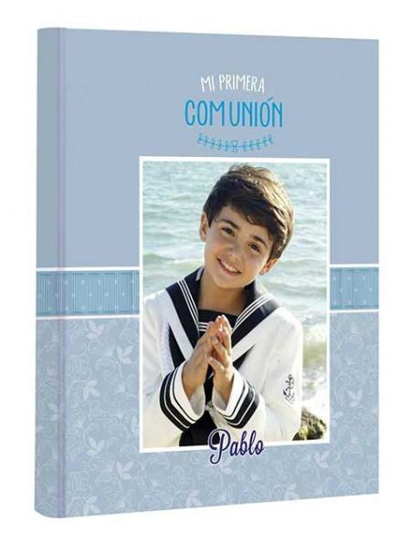 Portada del libro de firmas Mi Primera Comunión personalizado con la foto del niño